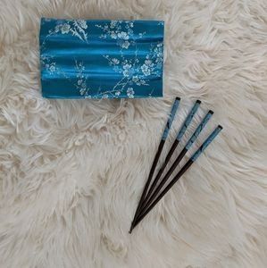 NEW Pretty Chopsticks in Silky Turquoise Pouch